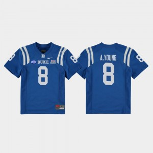 Youth(Kids) #8 Duke Blue Devils Football Game Royal Aaron Young College Jersey 2018 Independence Bowl