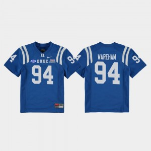 Duke Football Game #94 For Kids Collin Wareham College Jersey Royal 2018 Independence Bowl