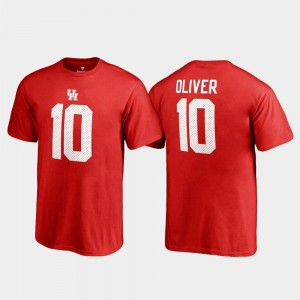 Youth #10 Red Name & Number Legends Houston Cougars Ed Oliver College T-Shirt