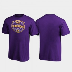 Youth College T-Shirt Official Logo Football Playoff Purple LSU 2019 National Champions