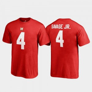 Darnell Savage Jr. College T-Shirt Red #4 Terrapins Name & Number Youth(Kids) Legends