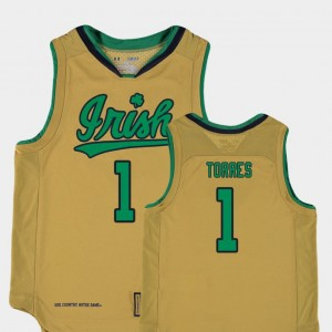 For Kids Replica #1 Basketball Special Games Austin Torres College Jersey Gold ND