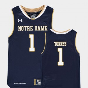 For Kids Replica ND Austin Torres College Jersey #1 Basketball Navy