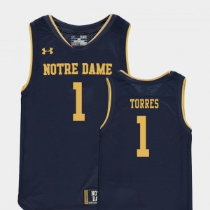 Replica Austin Torres College Jersey Basketball Special Games Youth Navy #1 Fighting Irish