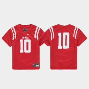 Kids Football Red Replica Ole Miss #10 College Jersey