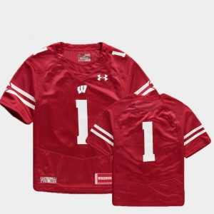 #1 Red Wisconsin Badgers Football Finished Replica Youth(Kids) College Jersey
